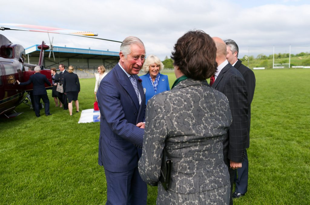 25/05/2016 NO REPRO FEE, MAXWELLS DUBLIN, IRELAND Visit to Ireland by The Prince of Wales and the Duchess of Cornwall. Donegal, Ireland. Pic Shows: HRH The Prince of Wales being greeted by Ms. Jane Chilcott , wife of the British Ambassador to Ireland as he stepped out of the helicopter in Donegal. PIC: NO FEE, MAXWELLPHOTOGRAPHY.IE