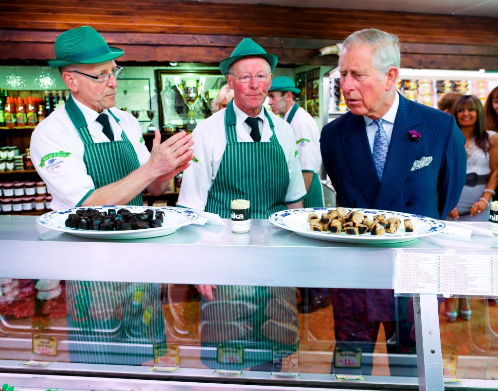 25/05/2016 NO REPRO FEE, MAXWELLS DUBLIN, IRELAND Visit to Ireland by The Prince of Wales and the Duchess of Cornwall. Donegal, Ireland. Pic Shows: HRH The Prince of Wales in conversation with the McGettigan brothers; Ernan McGettigan and Diarmuid McGettigan at a visit to McGettigan Butchers Shop in Donegal town. PIC: NO FEE, MAXWELLPHOTOGRAPHY.IE