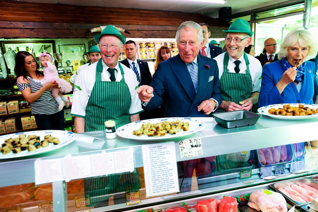25/05/2016 NO REPRO FEE, MAXWELLS DUBLIN, IRELAND Visit to Ireland by The Prince of Wales and the Duchess of Cornwall. Donegal, Ireland. Pic Shows: HRH The Prince of Wales and the Duchess of Cornwall in conversation with the McGettigan brothers; Ernan McGettigan and Diarmuid McGettigan at a visit to McGettigan Butchers Shop in Donegal town. PIC: NO FEE, MAXWELLPHOTOGRAPHY.IE