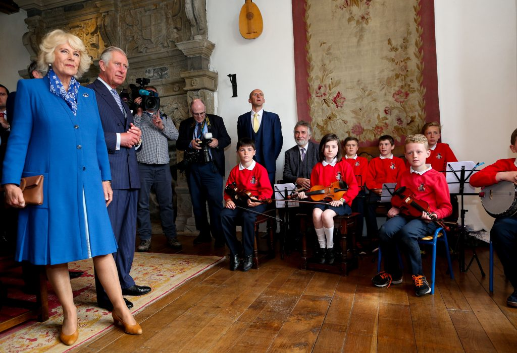 25/05/2016 NO REPRO FEE, MAXWELLS DUBLIN, IRELAND Visit to Ireland by The Prince of Wales and the Duchess of Cornwall. Donegal, Ireland. Pic Shows: The Duchess of Cornwall and HRH The Prince of Wales at Donegal Castle. PIC: NO FEE, MAXWELLPHOTOGRAPHY.IE