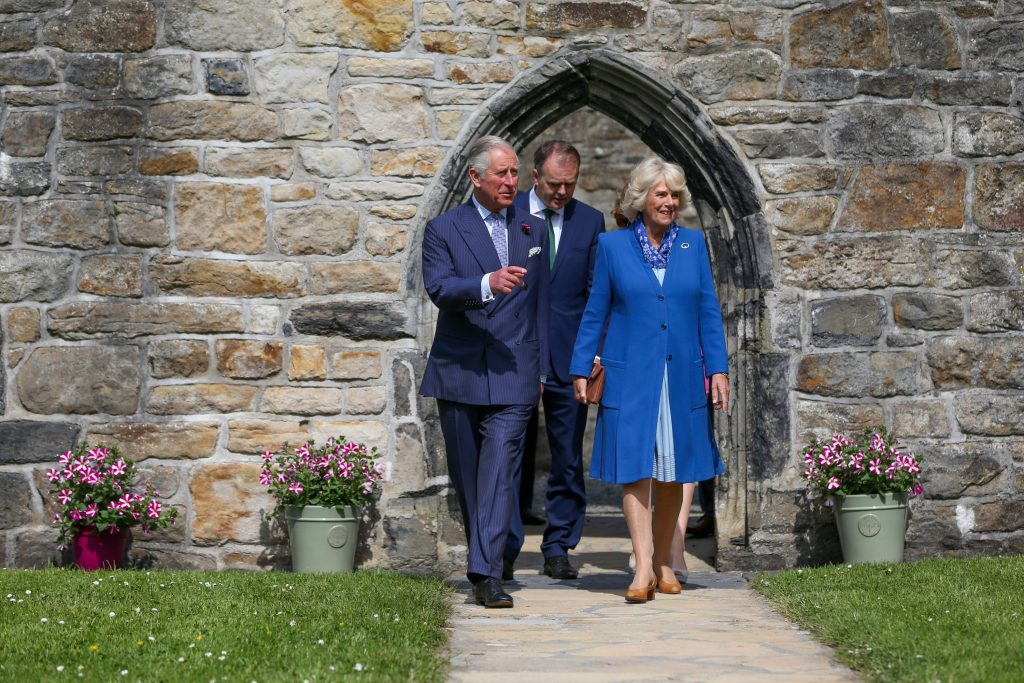 25/05/2016 NO REPRO FEE, MAXWELLS DUBLIN, IRELAND Visit to Ireland by The Prince of Wales and the Duchess of Cornwall. Donegal, Ireland. Pic Shows: HRH The Prince of Wales and the Duchess of Cornwall at Donegal Castle. PIC: NO FEE, MAXWELLPHOTOGRAPHY.IE
