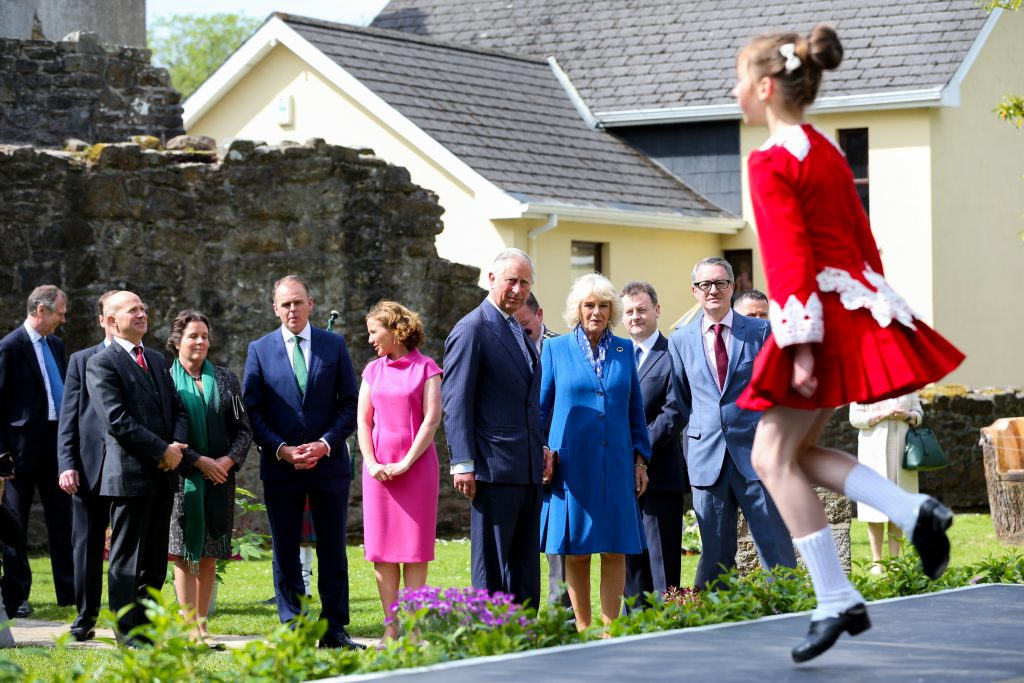 25/05/2016 NO REPRO FEE, MAXWELLS DUBLIN, IRELAND Visit to Ireland by The Prince of Wales and the Duchess of Cornwall. Donegal, Ireland. Pic Shows: HRH The Prince of Wales and the Duchess of Cornwall watching an Irish dancer at Donegal Castle. PIC: NO FEE, MAXWELLPHOTOGRAPHY.IE