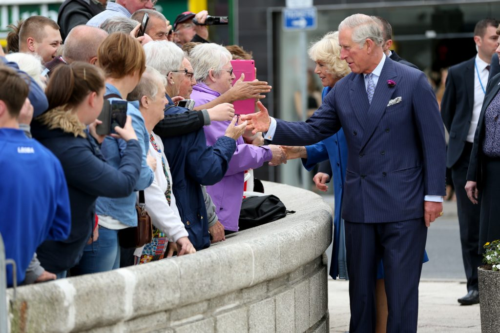 25/05/2016 NO REPRO FEE, MAXWELLS DUBLIN, IRELAND Visit to Ireland by The Prince of Wales and the Duchess of Cornwall. Donegal, Ireland. Pic Shows: HRH The Prince of Wales and the Duchess of Cornwall meeting the public in Donegal Town. PIC: NO FEE, MAXWELLPHOTOGRAPHY.IE