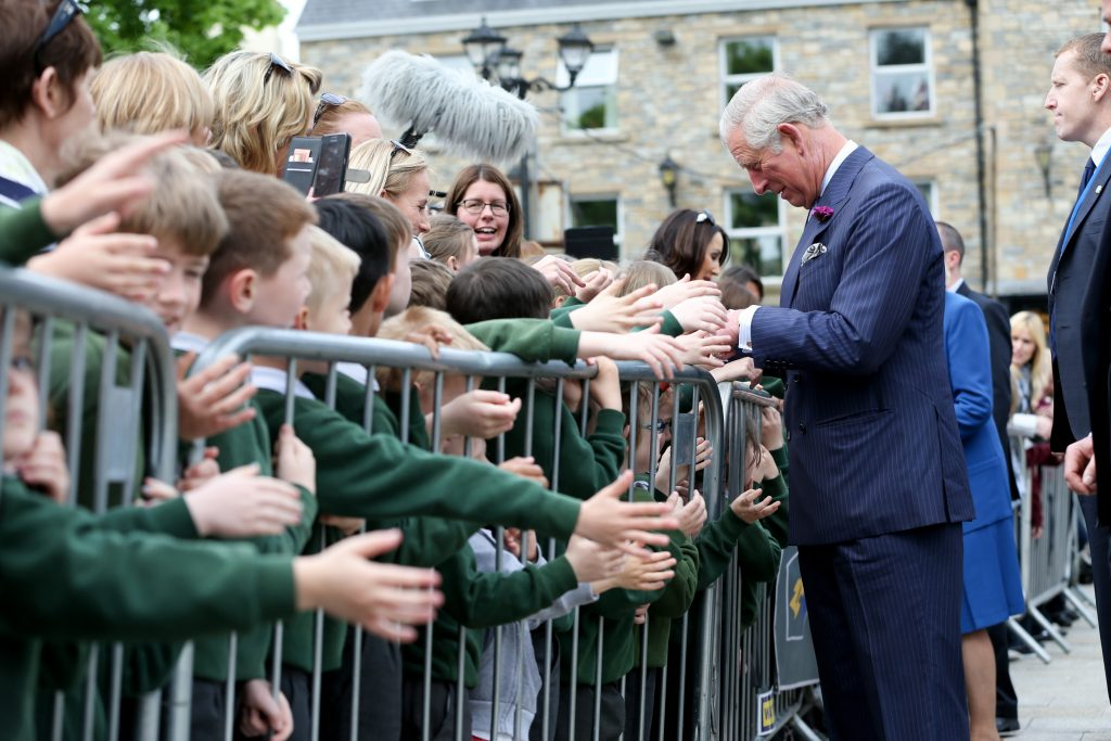 25/05/2016 NO REPRO FEE, MAXWELLS DUBLIN, IRELAND Visit to Ireland by The Prince of Wales and the Duchess of Cornwall. Donegal, Ireland. Pic Shows: HRH The Prince of Wales meeting the public in Donegal Town. PIC: NO FEE, MAXWELLPHOTOGRAPHY.IE