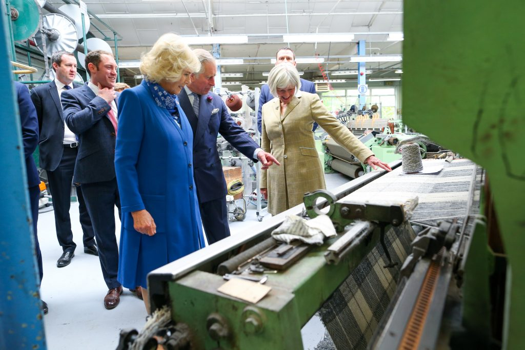 25/05/2016 NO REPRO FEE, MAXWELLS DUBLIN, IRELAND Visit to Ireland by The Prince of Wales and the Duchess of Cornwall. Donegal, Ireland. Pic Shows: HRH The Prince of Wales and the Duchess of Cornwall being shown how the tweed is made with Ms. Elizabeth Temple and Mr. Patrick Temple Proprietors and Directors at Magee of Donegal Tweed Workshop and Factory. PIC: NO FEE, MAXWELLPHOTOGRAPHY.IE
