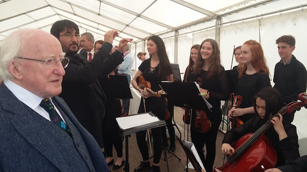President Michael D Higgins listens to the Donegal Chamber Orchestra, conducted by Victor Yelamo, in Letterkenny today. Pic NorthWest NewsPix