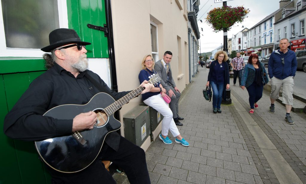 Peter Breen from Letterkenny taking part in the Letterkenny Chamber Shop LK busking Competition in Letterkenny on Saturday last.  Photo Clive Wasson