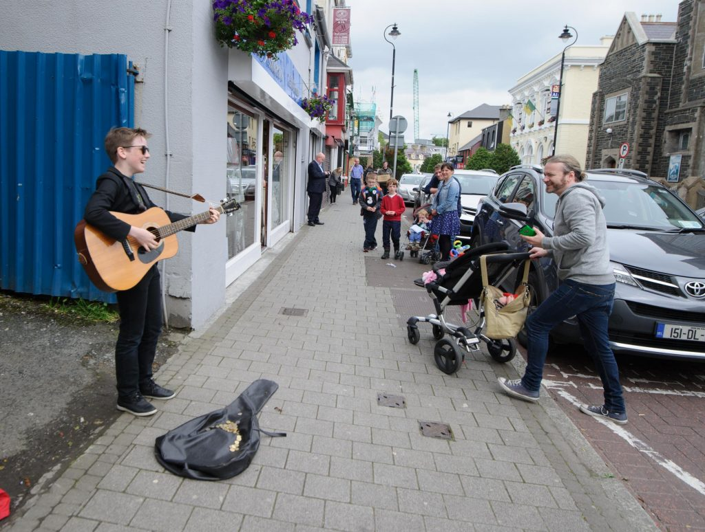 Tadgh Brennan from Ramelton taking part in the Letterkenny Chamber Shop LK busking Competition in Letterkenny on Saturday last.  Photo Clive Wasson