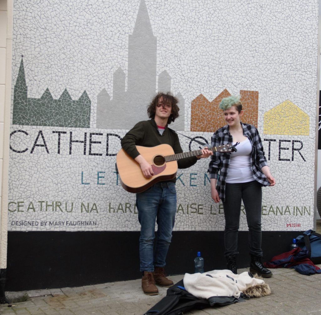 The Majors the Minors - Ciaran Coyle and Emory Ramsey taking part in the Letterkenny Chamber Shop LK busking Competition in Letterkenny on Saturday last.  Photo Clive Wasson