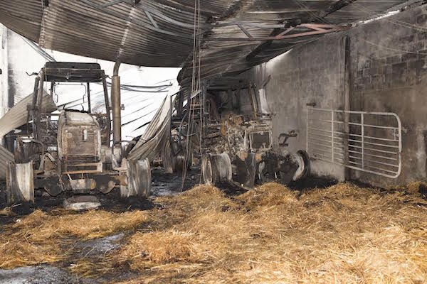 Tractors were destroyed in the attack