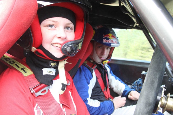 Toni Kelly with Kris Meeke on the notes as they set up Toni Honda Civic for the forthcoming Killarney Rally. Photo Brian McDaid