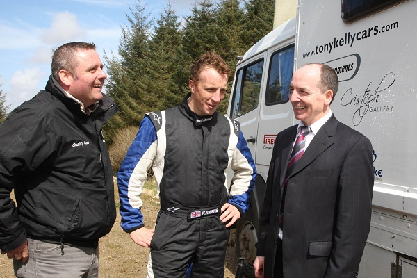 World Rally winner Kris Meeke pictured about ten years ago in Donegal with Ciaran Larkin and Tony Kelly pictured as he helped set up Toni Kelly Honda for a forthcoming Rally. Photo Brian McDaid
