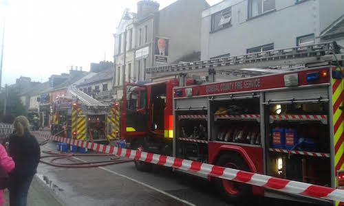 The scene of the fire at Letterkenny's Main Street.