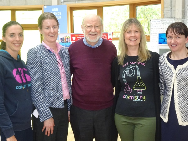The science teachers with Professor Campbell; perhaps one of their pupils will be the next Nobel Prize winner?