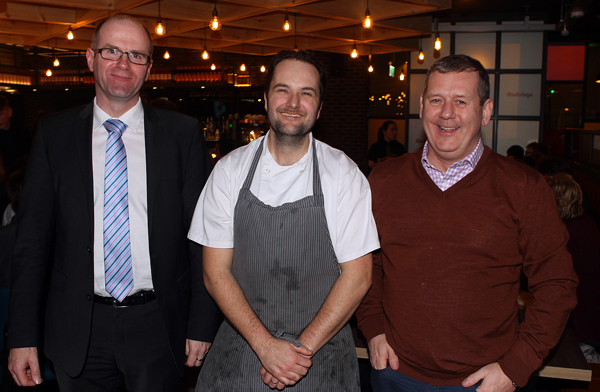 Michael Murray from Greg Foods and Liam Coyle for Trio Food pictured with Head Chef at Backstage Mark Greer at the opening night.