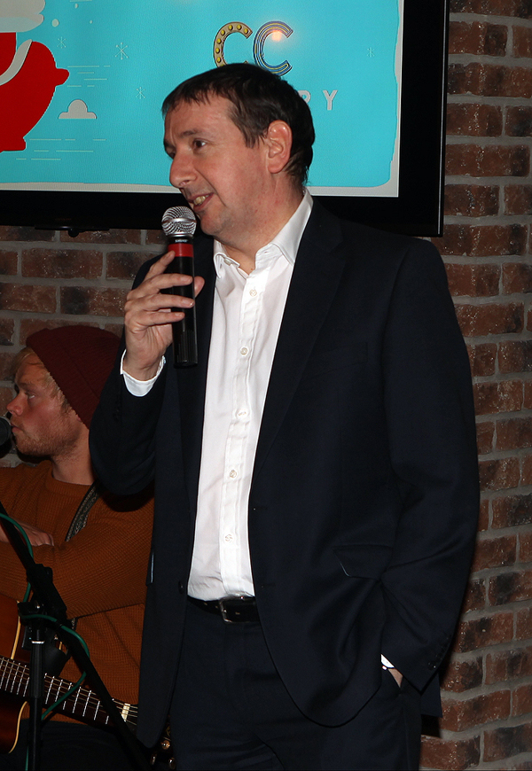 Mark Doherty thanks the guest for joining in his celebration at the opening of Backstage on Monday night in Letterkenny.