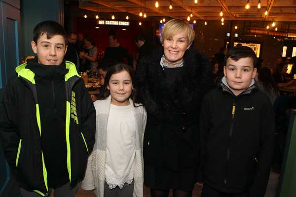 Scott, Alex, Elliot Thompson with mum Lorraine at the the opening of back Stage Letterkenny.