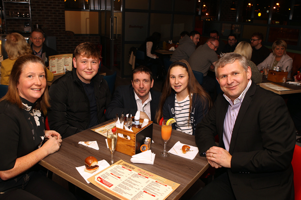 Patrick Annette, Alisha and Eddie Tobin with Mark Doherty at the opening of Backstage in Letterkenny on Monday night.