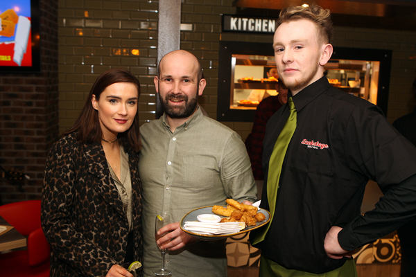 Kate Quinlivin and Kevin Mc Laughlin  with Paddy Doherty from Backstage in Letterkenny on the official opening night .