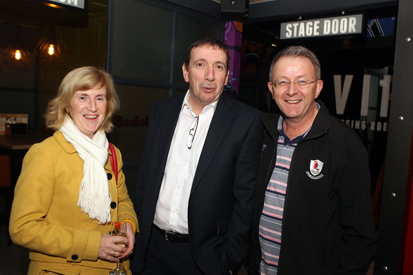 Frances and Jim Mc Glynn with Mark Doherty at the opening of Backstage on Monday night.