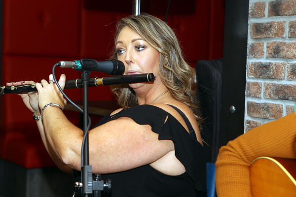 Trudy O'Donnell on stage at the opening of Backstage in Letterkeny om Monday evening.  Photo Brian McDaid