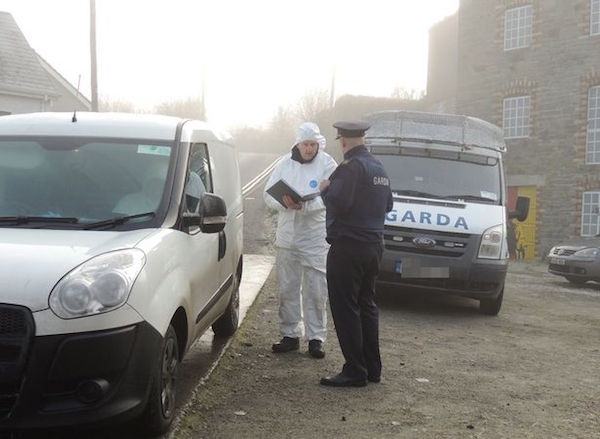 Gardai at the scene following the discovery of Muriusz Ejdys' body.