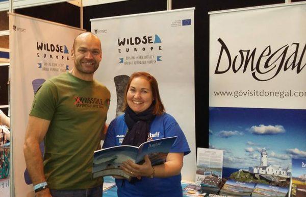 Joy Harron from Donegal Tourism Ltd. with famous adventurer Monty Halls
