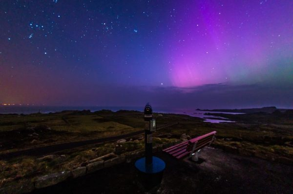 View of the Aurora Borealis in the night sky above Malin Head on the Wild Atlantic Way