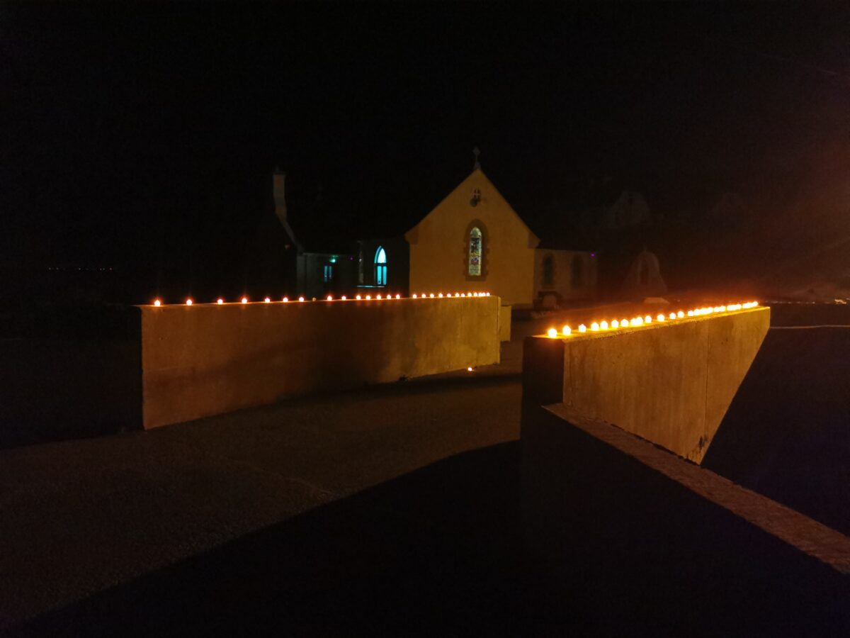Battery tea lights over the bridge at St Crones Church, Arranmore.