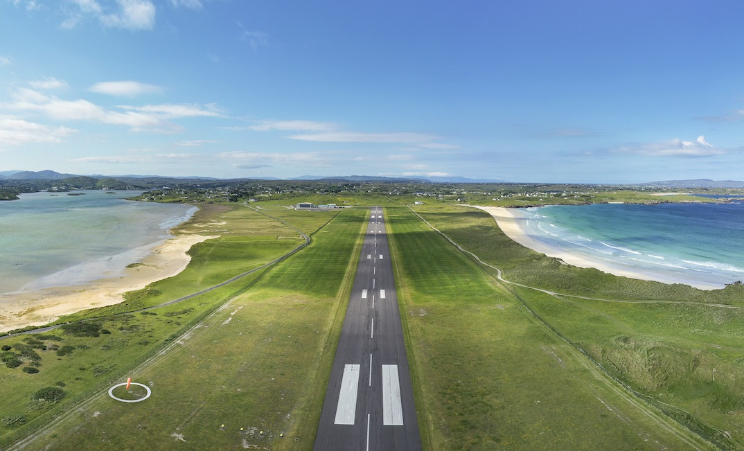 Aerial photo of approach to most scenic airport in the world - Donegal Airport, Ireland.